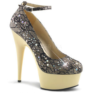 """Shoes - 6"""" High Heel Ankle Lace Rhinestone Platform Shoes"""